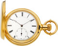 Timepieces:Pocket (pre 1900) , Edouard Richard, Locle, High Grade 18k Gold Hunter Case, circa1880. ...