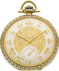 Timepieces:Pocket (post 1900), Lord Elgin Unusual Platinum On Gold 12 Size With Fancy Dial, circa1919. ...
