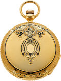 Timepieces:Pocket (pre 1900) , Waltham 18k Gold & Enamel 10 Size Appleton Tracy & Co.,circa 1869. ...