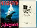 "Books:Mystery & Detective Fiction, Sue Grafton. SIGNED. ""J"" is for Judgement. New York: HenryHolt, 1993. First edition. Signed by the author. Octavo. ..."