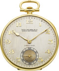 Timepieces:Pocket (post 1900), Patek Philippe Platinum & Gold Pocket Watch For Tiffany &Co., circa 1925. ...