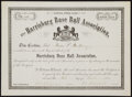 Baseball Collectibles:Others, 1884 Harrisburg Base Ball Association Stock Certificate. ...