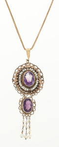 Estate Jewelry:Necklaces, Amethyst, Seed Pearl, Gold, Silver, Pendant-Necklace. ...