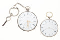 Timepieces:Pocket (pre 1900) , Two Swiss Silver Cylinder Key Wind Pocket Watches Runners. ...(Total: 2 Items)