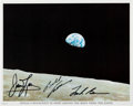 "Autographs:Celebrities, Apollo 8 Crew-Signed ""Earthrise"" Color Photo. ..."