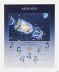 "Explorers:Space Exploration, Alan Bean Large Limited Edition ""Houston, We Have a Problem""Lithograph Signed by Bean, the Surviving Apollo 13 Crew, and the..."