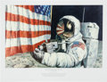 """Explorers:Space Exploration, Alan Bean Signed Large Limited Edition """"Straightening our Stripes""""Lithograph, #516/550. ..."""