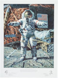 """Explorers:Space Exploration, Alan Bean Large Limited Edition """"The Hammer and the Feather"""" Lithograph Signed by Him and Dave Scott, #404/650. ..."""