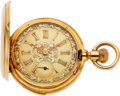 Timepieces:Pocket (pre 1900) , Geneva N.M. Watch Co. Gold Minute Repeater With Fancy Multicolor Gold Dial, circa 1890's. ...