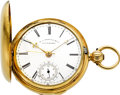 Timepieces:Pocket (pre 1900) , M.I. Tobias Rare Two Train Independent Dead Beat Seconds Gold WatchPresented To Henry Kayser, circa 1857. ...