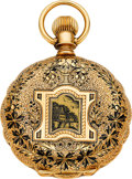 Timepieces:Pocket (pre 1900) , Elgin 14k Gold & Enamel 6 Size. ...