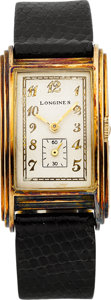 Timepieces:Wristwatch, Longines Deeply Curved 14k Rectangular, circa 1937. ...