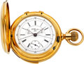 Timepieces:Pocket (pre 1900) , L.C. Grandjean, Locle, First Quality Gold Minute Repeater WithSplit Seconds Chronograph, circa 1890's. ...
