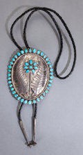 American Indian Art:Jewelry and Silverwork, A NAVAJO SILVER AND TURQUOISE BOLO TIE...