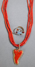 American Indian Art:Jewelry and Silverwork, TWO NAVAJO GOLD AND CORAL JEWELRY ITEMS. L. M. Nez. c. 1980. ...(Total: 2 )