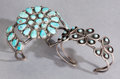American Indian Art:Jewelry and Silverwork, TWO ZUNI SILVER AND TURQUOISE BRACELETS... (Total: 2 )