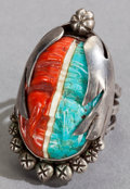 American Indian Art:Jewelry and Silverwork, A SOUTHWEST SILVER AND STONE RING. Henry Bushyhead...
