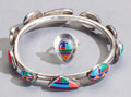 American Indian Art:Jewelry and Silverwork, A SOUTHWEST SILVER AND MULTI STONE BRACELET WITH MATCHING RING...(Total: 2 )