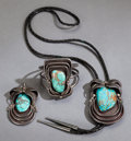 American Indian Art:Jewelry and Silverwork, A NAVAJO SILVER AND TURQUOISE JEWELRY SUITE. Wilson and VeronicaRomero... (Total: 3 Items)