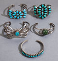 American Indian Art:Jewelry and Silverwork, FIVE SOUTHWEST CHILD'S SILVER AND TURQUOISE BRACELETS... (Total: 5)