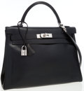Luxury Accessories:Bags, Hermes 32cm Black Calf Box Leather Retourne Kelly with PalladiumHardware. ...