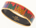 Luxury Accessories:Accessories, Hermes 65mm Red, Blue & Yellow Enamel Bangle Bracelet with GoldHardware . ...