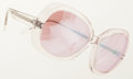 Luxury Accessories:Accessories, Cutler and Gross Clear Acetate Sunglasses with Pink IridescentLenses. ...