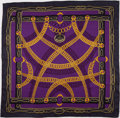 "Luxury Accessories:Accessories, Hermes Purple & Gold ""Maillons,"" by Caty Latham Silk Scarf ...."