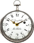 Timepieces:Pocket (pre 1900) , Olof Ljungdahl, Stockholm, Unusual Swedish Made Verge Fusee, No.78, circa 1770. ...