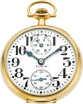 Timepieces:Pocket (post 1900), Elgin 23 Jewel Veritas 14k Gold Grade 453 Wind Indicator, Circa 1921. ...
