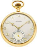 Timepieces:Pocket (post 1900), Waltham 23 Jewel 18k Gold Riverside Maximus Model 1894, With Box,Circa 1920. ...