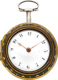 Timepieces:Pocket (pre 1900) , John Wainwright Nottingham Silver Verge With Gold Pinned ShagreenOuter Case, circa 1790. ...