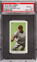 "Baseball Cards:Singles (Pre-1930), 1910 E98 ""Set of 30"" Hans Wagner (Green) ""Black Swamp Find"" PSAGood+ 2.5. ..."
