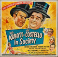 "Movie Posters:Comedy, Abbott and Costello in Society (Universal, 1944). Six Sheet (79"" X 80""). Comedy.. ..."