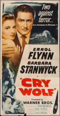 """Movie Posters:Mystery, Cry Wolf (Warner Brothers, 1947). Three Sheet (41"""" X 81"""").Mystery.. ..."""