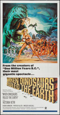 "Movie Posters:Fantasy, When Dinosaurs Ruled the Earth (Warner Brothers, 1970).International Three Sheet (41"" X 79""). Fantasy.. ..."