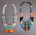 American Indian Art:Jewelry and Silverwork, TWO SANTO DOMINGO HEISHI NECKLACES. Donald Crespin. c. 1980...(Total: 2 )