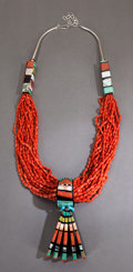 American Indian Art:Jewelry and Silverwork, A SANTO DOMINGO CORAL NECKLACE. Donald Crespin. c. 1980...