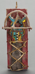 American Indian Art:Kachina Dolls, A JEMEZ POLYCHROME KACHINA DOLL AND CRADLE. c. 1950...
