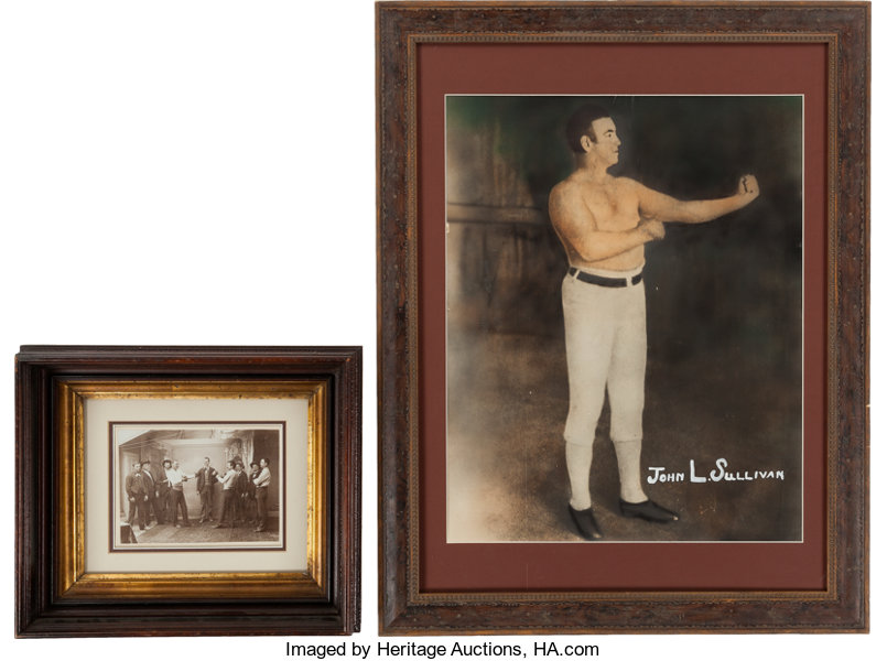 1890's John L  Sullivan Large Photograph & Smaller Boxing