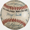Baseball Collectibles:Balls, 1958 Philadelphia Phillies Team Signed Baseball (26 Signatures)....