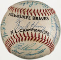 Baseball Collectibles:Balls, 1958 Milwaukee Braves Team Signed Baseball (26 Signatures) -National League Championship Season....