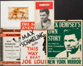 Boxing Collectibles:Memorabilia, Jack Dempsey. Max Schmeling and Others Promotional Pieces Lot of 5....