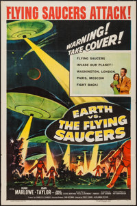 "Earth vs. the Flying Saucers (Columbia, 1956). One Sheet (27"" X 41""). Science Fiction"