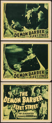 """The Demon Barber of Fleet Street (Select Attractions, 1939). Title Lobby Card & Lobby Cards (2) (11"""" X 14""""..."""