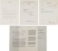 Autographs:Others, 1950-77 Ted Williams Signed Contracts & Letters Lot of 4....