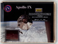 Explorers:Space Exploration, Apollo 9 Flown Kapton Foil Fragment from the Command ModuleGumdrop in Display. ...