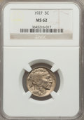 Buffalo Nickels: , 1927 5C MS62 NGC. NGC Census: (53/881). PCGS Population (25/1814). Mintage: 37,981,000. Numismedia Wsl. Price for problem f...