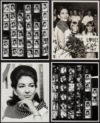 Maria Callas (1950s-1960s). Autographed Photo, Newspaper Photos (8), Proof Sheets (2), & Portrait Photos (3) (8&...