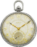 Timepieces:Pocket (post 1900), Elgin Rare C.H. Hulburd White Gold Pocket Watch, circa 1925. ...